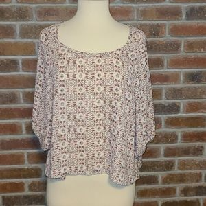 About A Girl Boho Patterned Swing Crop Top